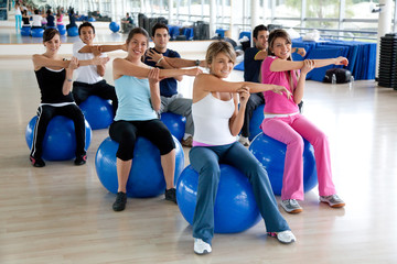 People at a pilates class