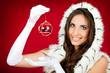 santa woman  holding Christmas decoration