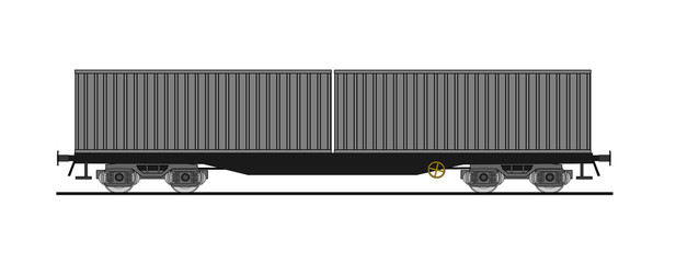 Flat car whit shipping containers