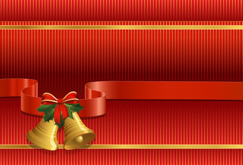 Christmas background. Christmas bells, holly, bow and ribbon
