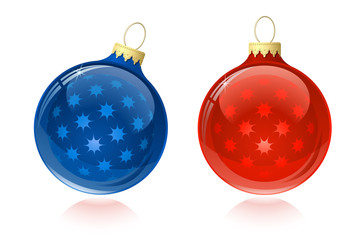 Christmas balls. Christmas baubles with reflection.