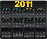 Calendar grid 2011 year english black