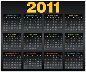 Calendar grid 2011 year english black
