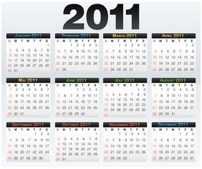 Calendar grid 2011 year english