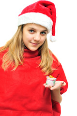 santa girl with present