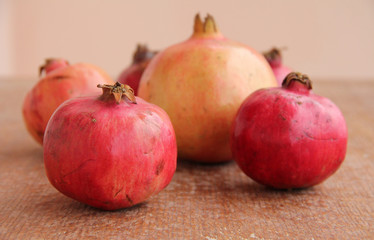 Pomegranate at wooden structure