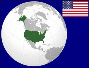 USA globe map locator world flag
