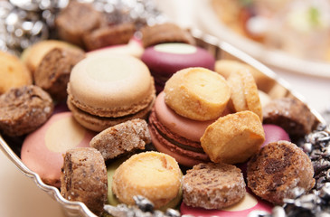 Macaroons on banquet table