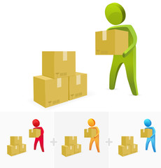 3D character illustration moving a carton box