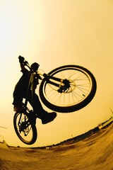 Silhouette Of A Cyclist Against A Yellow Sky