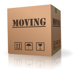 moving cardboard box relocation storage container poster