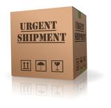 urgent shipment cardboard box package sending poster