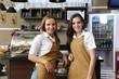 Waitresses working at a café
