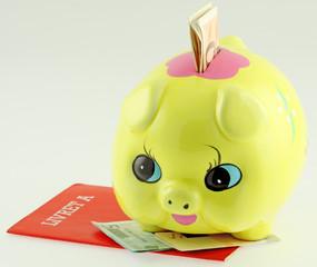 tirelire cochon jaune, livret A et billets