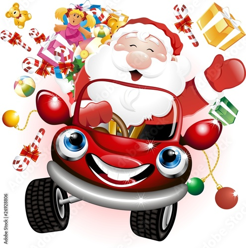 Babbo Natale in Automobile-Santa Claus Cartoon Car-Vector