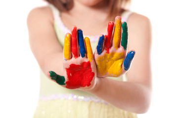 little girl with colorful hand