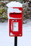 Red postbox in the snow poster