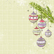 beige background with christmas balls, vector