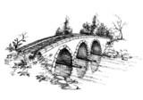 Stone bridge over river sketch - 26940292