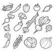 Black and White Handdrawn Vegetables