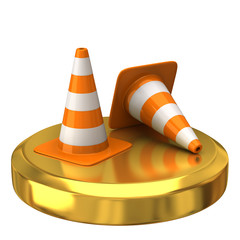 Traffic cone on gold podium