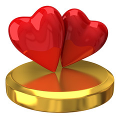 Two red hearts on gold podium