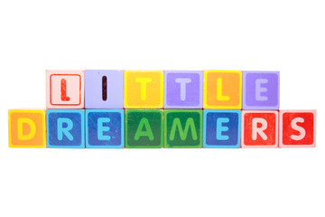 little dreamers in blocks on white