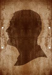 man face on grunge background