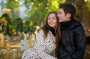 Romantic young couple at sunny autumn day