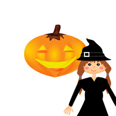 Witch and smiled pumpkin isolated on white background