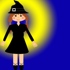Witch isolated on blue yellow background