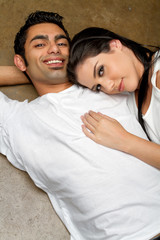 Happy young ethnic couple in love