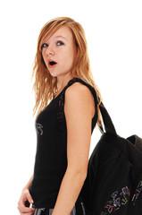 Schoolgirl with back bag.