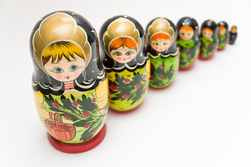 russian matryoshka doll on white background