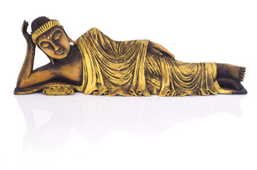 Teak wood lying buddha on white background.