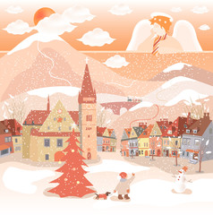 Decorative Christmas postcard with  angel and city.