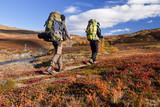 Wanderer im Herbst in Lappland