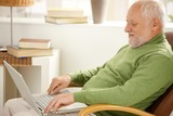 Smiling pensioner using laptop computer poster