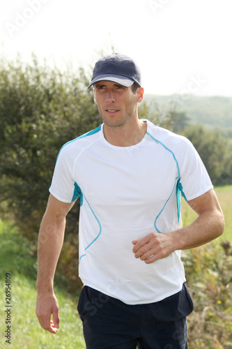 Closeup of man running outside