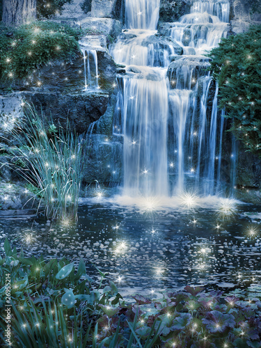 Magic night waterfall scene - 26955214