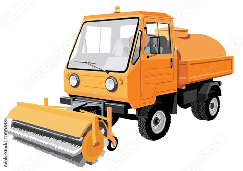 Vector isolated Street sweeper v1