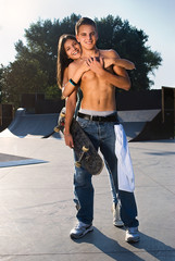 Couple in love on urban background