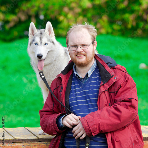 Siberian Husky with a man