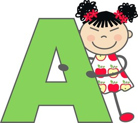 a girl with letter A