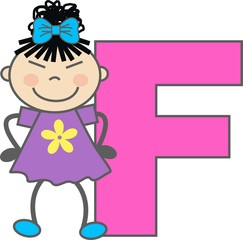 a girl with letter F