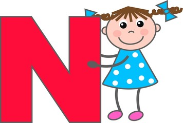 a girl with letter N