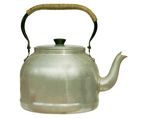 Very old kettle with whipping on handle - isolated