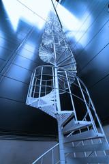 Industrial zone, Steel stairs in blue tones