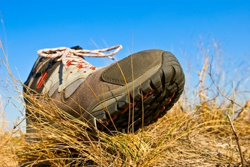 touristic boot on a dry grass