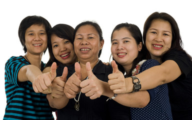 asian women with thumbs up
